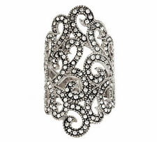 QVC Sterling Silver Crystal Elongated Lace Design Ring Size 10 QVC