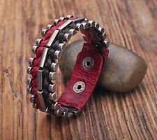 G173 Black-Red Rock Cool Leather Wraps Metal Parts Men's Bracelet Cuff  NEW