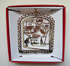 Wisconsin State Brass ORNAMENT Green Bay Football Cheese Madison Milwaukee Beer
