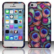 For Apple iPhone 5C Rubberized Matte Hard Design Cover Case - Peacock Feathers