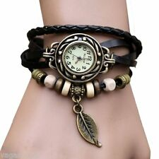 Wrist Watch Leaf Bracelet Plaited Leather Strap Ladies Womens Wristwatch Fashion