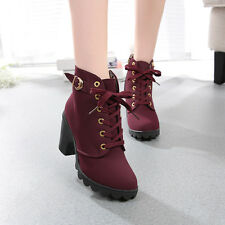 WOMEN FASHION HIGH HEEL LACE UP ANKLE BOOTS LADY PLATFORM WINTER WARM SHOES LOT