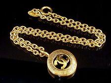 100% Authentic Chanel Coco Mark CC Logo Gold-Tone Chain Necklace Pendant M350