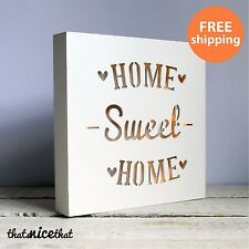 HOME SWEET HOME LIGHT SIGN Decorazione PLACCA Regalo in Legno INAUGURAZIONE CASA CUORE LED