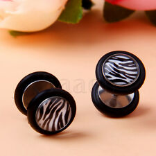 White and Black Zebra Stripes Earrings Barbell 18G Fake Cheater Ear Plug MA