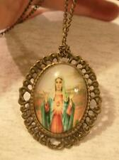 Swirl Rimmed Brasstone Immaculate Heart of Mary Blessing Pendant Necklace Brooch