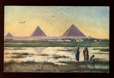 Egypt Ghizeh Evening Pyramids Tuck Oilette #7201 vintage PPC