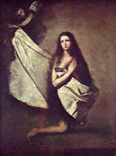 Stunning Oil painting Ribera - St. Agnes in prison, Angel with the cloth dressed