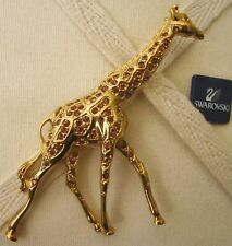 Signed Swarovski Golden Giraffe Brooch Pin