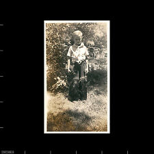 Old Vintage Photo BOY IN COWBOY CHAPS STANDING IN YARD