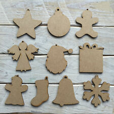 MDF 10 Pack Wooden Christmas Tree Decorations Craft Shape Blank Assorted Designs