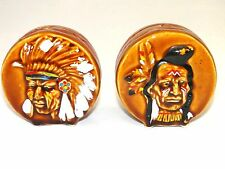 Vintage Indian Headress Drums Salt & Pepper Shakers Wales China Japan