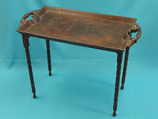 STUNNING 19c CONTINENTAL CARVED WOOD MARQUETRY INLAY BUTLERS TABLE / TRAY