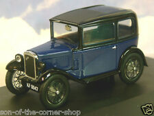 OXFORD DIECAST 1/43 AUSTIN SEVEN 7 RN SALOON IN LIGHT ROYAL BLUE & BLACK ASS002