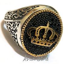 H.Q. Crown, Turkish 925 S. Silver Black Topaz Stone Men's Ring Sz 11.5 us #n106