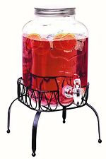 Rammento Vintage Beverage Glass Drink Juice Dispenser With Stand 4 Litre Bar New