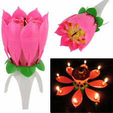New Magic Musical Rotating Lotus Flower Candle Happy Birthday Party Lights