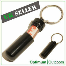 Waterproof Aluminium Cash Stash Capsule Keyring Pill Holder Keychain Black UK