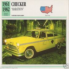 FICHE AUTOMOBILE GLACEE US USA CAR CHECKER MARATHON 1961-1982