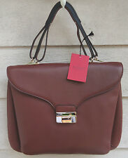 NEW $2145 Valentino Brown Satchel Leather Large Expandable Briefcase