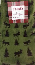 "Thro By Marlo Lorenz Throw Blanket Moose & Christmas Trees Green Brown 50"" X 60"""