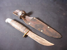 Old Vtg Western Brand Boy Scout Fixed Blade Knife With Leather Sheath