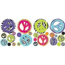 ZEBRA animal print PEACE SIGNS wall stickers 26 decals decor SKULL GUITAR teen