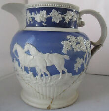 ANTIQUE ADAMS LARGE BLUE & WHITE JASPERWARE PITCHER  TUNSTALL ENGLAND -AS IS