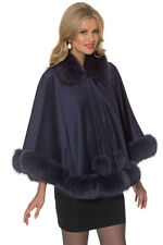 Navy Dyed Real Fox Fur Trimmed Cashmere Cape for Women - Duchess