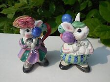 1995 Fitz and Floyd Collectible Girl & Bow Bunnies w/ Balloons Sugar and Creamer