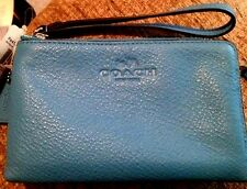 NWT Coach Pebbled Leather Double Corner Zip Wristlet Azure Blue F64130 45% OFF!