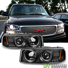 1999-06 Sierra Yukon Denali LED Halo Black Projector Headlights Lights Pair L+R