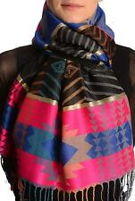 Aztec Patern On Pink and Blue With Gold Lurex Pashmina With Tassels (SF001728)