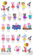 Peppa Pig 1 Set Pastel partido está parado Toppers Oblea Tarjeta hágalo usted mismo X26 Piezas