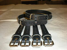 Dolls Pram Coach built vintage pram real leather  suspension straps in Navy Blue