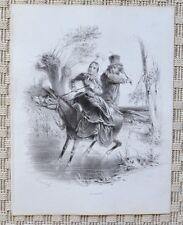 Lithographie Originale XIX ème par Boucholl - Âne - Circa 1850