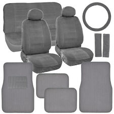 New Vintage Car Seat Covers in Gray w/ Lined Ribbed Texture Auto Floor Mats