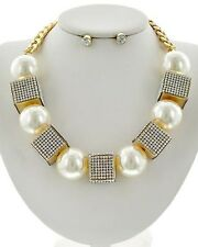 Cream Faux Pearl Rhinestone On Gold Tone Cube Bead Chinky Necklace Earring Set