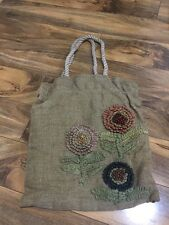 J Crew Linen Tan Tote Bag Used Flower Embroidered Beach School Purse Spring Jute