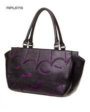 BANNED Clothing PVC Faux Leather Handbag Bag GOTHIC BATS Purple