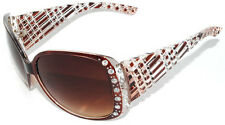 Womens Shiny Studded Rhinestones UV400 Proctect Oversized Sunglasses - Brown