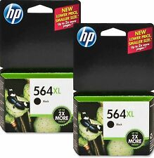 Twin HP 564XL Black CN684WN Ink Cartridges NEW GENUINE