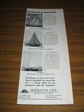 1954 Print Ad Mobaco Blue Bird,Dolphin,Duth Treat Class Sail Boats Stamford,CT