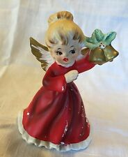Vintage Japan NAPCO WARE Christmas Angel Figurine X - 6964 holding BELLS