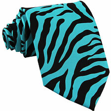 New Polyester Zebra Animal Print Formal Party Necktie Turquoise Blue