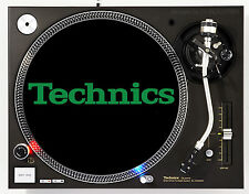 TECHNICS CLASSIC GREEN ON BLACK - DJ SLIPMATS (1 PAIR) 1200's or any turntable