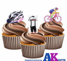 Cycling Cyclists Helmet Bike Pink Mix - 12 Edible Cup Cake Toppers Decorations