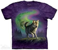 WOMEN'S T-SHIRT AURORA WOLFPACK STONEWASHED MULTICOLORED GRAPHIC TEE SIZE SMALL
