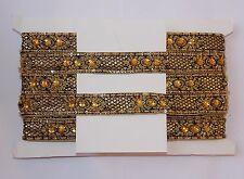black gold Bead Jewel Sequin Indian wedding dance costume ribbon rhinestone