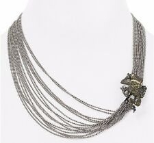 ALEXIS BITTAR MULTI STRAND FROG NECKLACE $325 PAVE OLIVE GREEN CRYSTALS NWT